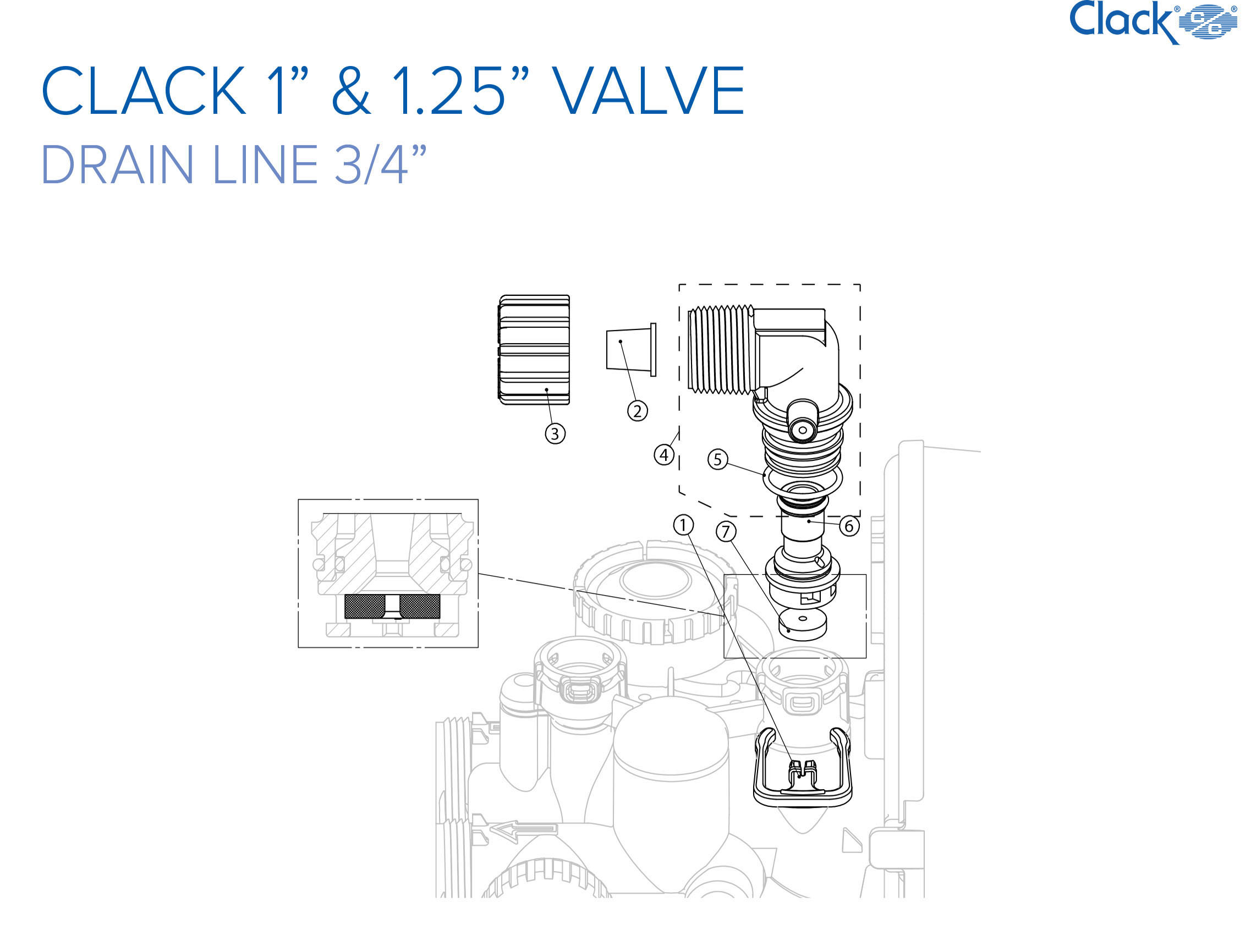 "*** NEW *** Clack Spare Parts - Drain line 3/4"""