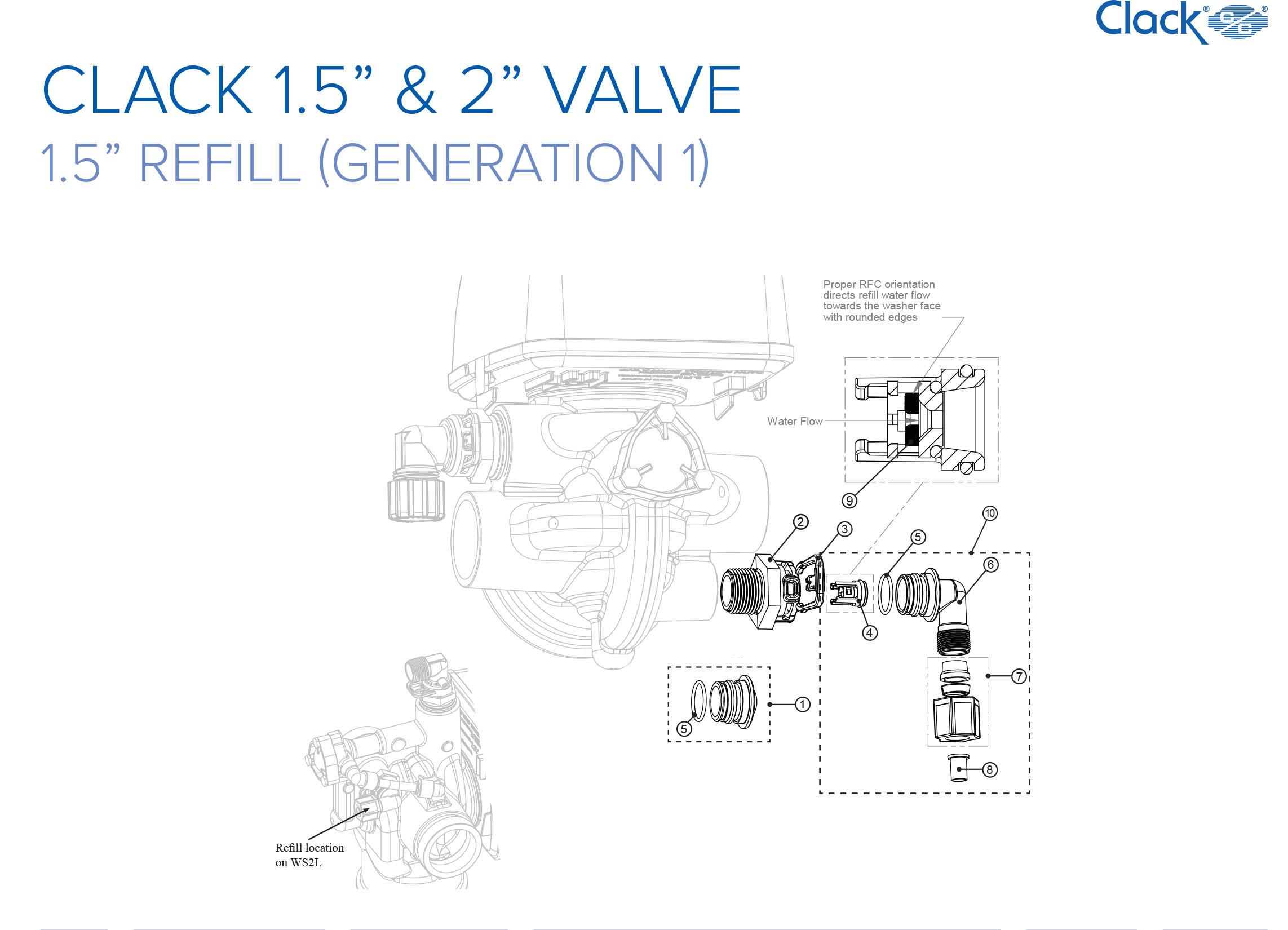 """*** Clack 1.5 & 2"""" Valve *** 1.5 Refill (Generation 1)"""